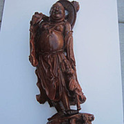 REDUCED Antique Large Wood Carving Of Man with Child