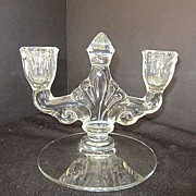 Vintage Glass Double Candle Holder