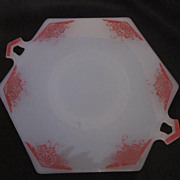 Vintage Milk Glass Cake Plate with Red Design & Handles