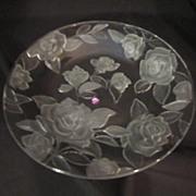 Vintage Rose Parade Crystal Round Serving Platter