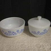 """Vintage Mixing Bowl and Covered Bowl """"Cornflower Pattern"""" by the Federal Glass Compa"""