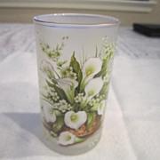 Vintage Set of 6 Calla Lily Bouquet Decorated Juice Glasses