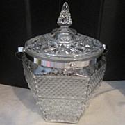 Vintage Glass Ice Bucket with Handle and Lid
