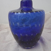 Vintage Royal Blue Art Glass Vase with Graduated Bubbles