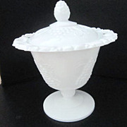 Vintage Milk Glass Candy Dish Harvest Grape Pattern