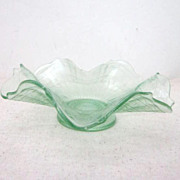 Vintage Green Pressed Glass Candy/Nut Dish