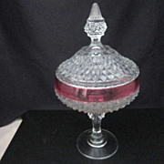 Indiana Glass Diamond Point Candy Dish with Lid