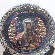 Vintage Fenton Carnival Glass Decorator Plate Christmas 1970