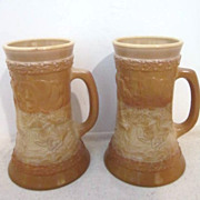 Vintage Pair of American Bicentennial Tankards of Chocolate Slag Glass