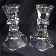 Pair of Clear Cut Glass Candle Holders