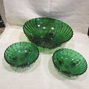 Anchor Hocking Forest Green Oyster and Pearl Large Berry Bowl with Two Individual Bowls