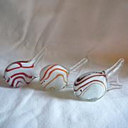 Set of 3 Art Glass Fish