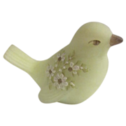 Fenton Hand Painted & Signed Satin/Custard Glass Bird Figurine