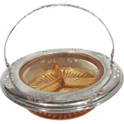 Farberware Divided Amber/Peach Glass Bowl with Metal Rim and Handle