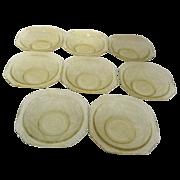 Set of 8 Amber Madrid Depression Glass Dessert Bowls