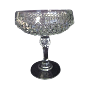 Indiana Glass Co Pressed Crystal Footed Diamond Point Compote