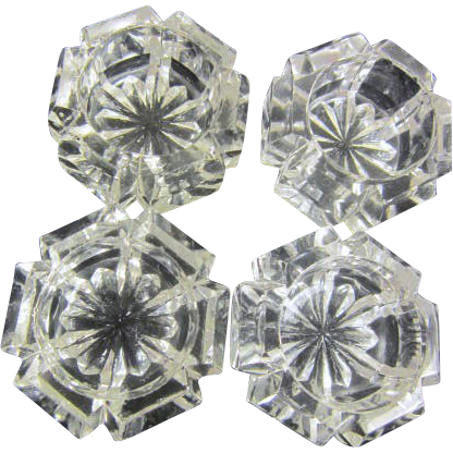 Set of 4 Open Clear Glass Individual Salt Containers