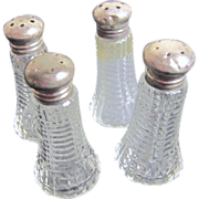Two Pair of Crystal Salt & Pepper Shakers with Sterling Silver Lids Individual Sized