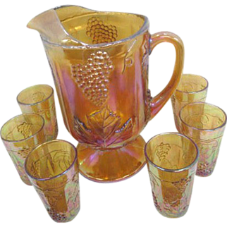 Footed Marigold Carnival Glass Grape & Leaf Pitcher with 6 Juice Glasses
