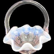 Fenton Light Pink Opalescent Glass Basket