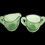 Small Clear Green Glass Cream & Sugar Set