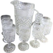 Anchor Hocking Glass Set of Wexford Pitcher with 8 Water Glasses