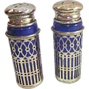 Cobalt Blue Salt & Pepper Shakers with Silver Plated Tops and Holders
