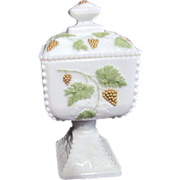 Westmoreland Small Panel Milk Glass Lidded Candy Dish Grape Clusters