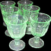 Set of 6 Green Footed Glasses/Dessert Servers