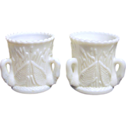 Pair of Westmoreland Milk Glass Swans Toothpick Holders