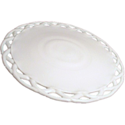 SOLD White Milk Glass Footed Cake Plate with Crocheted Edge
