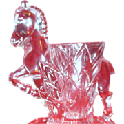 Prancing Horse Clear Glass Vase by Smith Glass 1950's
