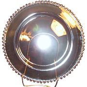 Imperial Glass Candlewick Serving Plate with Gold Trim