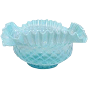 Fenton Pre-Logo Blue Ruffled Basket Weave Bowl