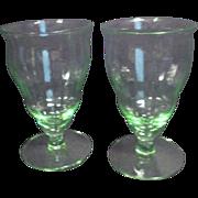 Set of Two Footed Vaseline Glasses