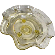 Depression Glass Light Yellow Footed Ruffled Bowl