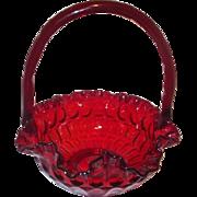 Fenton Ruby Red Glass Thumbprint Basket