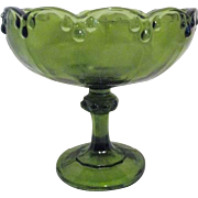 Green Footed Bowl with Scalloped Rim