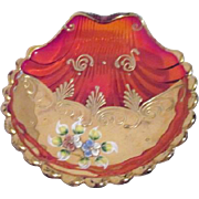 Bohemian Cranberry Shell Plate Hand Painted Flowers Gold Decoration