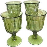 4 Light Green Footed Glasses Fostoria and Noritake