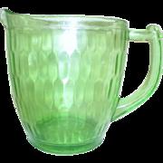 Green Vaseline Glass Honeycomb/Hex Optic Pattern by Jeannette