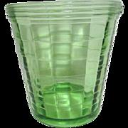 Green Vaseline Glass Ice Bucket by Hocking 1929-1933