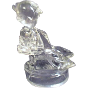 Clear Glass Hummel Goose Girl by L.E. Smith Glass Co