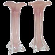 Pair of Brown-Rose Art Glass Vases