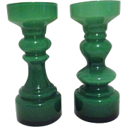 Pair of Green Tall Glass Candle Holders