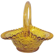Amber Colored Glass Basket with Ruffled Edge and Embossed Roses