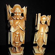 Vintage Pair Carved Bone Chinese Gods