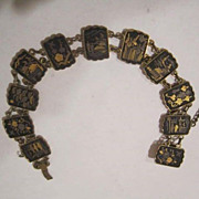 Vintage Japanese Komai Shakudo Damascene Double Sided Bracelet inlaid with Gold