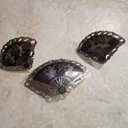 Vintage Siam Niello Silver Earrings and Pin