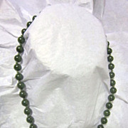 "Vintage 17"" Strand Green Jade Necklace"